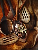 Assorted Wooden Spoons with Spices
