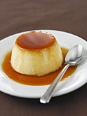 Coconut baked custard with caramel sauce