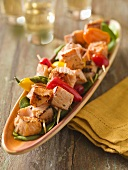 Salmon, Pepper and Asparagus Kabobs; Glasses of White Wine