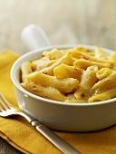 Baked Macaroni and Cheese in an Individual Dish; Fork