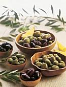 Wooden Bowls of Assorted Olives