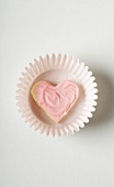Small Pink Frosted Heart Cookie in a Cupcake Liner