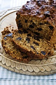 Prune Tea Cake; Partially Sliced