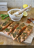 Preparing Salmon Chermoula