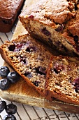Sliced Homemade Blueberry Banana Nut Bread