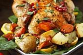 Roast Chicken with Oregano, Pomegranate and Lemon