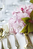 Pink Flowers Laid on Wedding Table