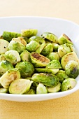 Roasted Brussels Sprouts in a Serving Bowl