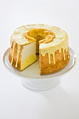 Daffodil Cake; Orange Flavored Angel Food Cake with Slice Removed