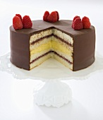 Washington Cream Pie; Layered Custard Filled Cake; Slice Removed