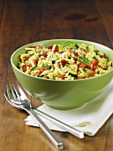 Sesame Spatzle Salad with Zucchini and Red Pepper; In a Bowl