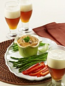 Creamy Peperonata Dip with Vegetables; Pumpkin Ale Beer