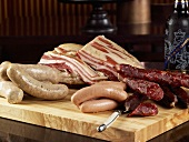 Selection of Bacon and Charcuterie on Butcher Block