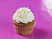 Vanilla Cupcake with Vanilla Frosting; On Purple