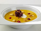 Creamy Squash Soup with Cranberries, Croutons and Creme Fraiche