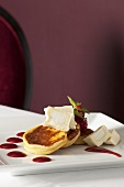 Ricotta pancakes with goats' cheese and raspberry sauce