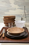 Wooden Place Setting; Stacked Wooden Bowls with Bottle