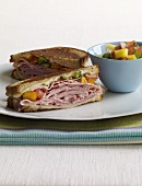 Halved Ham Sandwich with Mango Salsa