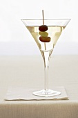 Martini with Red and Green Grape Garnish