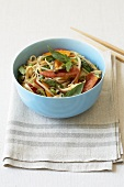 Bowl of Asian Noodles with Veggies and Basil; Chopsticks