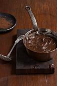 Melted Chocolate in a Copper Pot