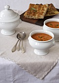 Two Bowls of Tomato Soup with Chiabatta Bread