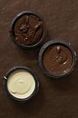 Three Bowls of Melted Chocolate; Dark, Milk and White