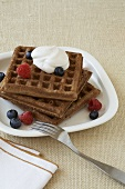 Chocolate Waffles Topped with Yogurt and Berries