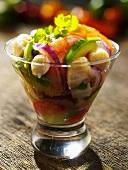 Ceviche in a Glass Bowl