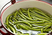 Whole Fresh Green Beans Soaking in a Red-Rimmed Cooking Pot