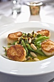 Seared Scallops with Green Beans and Fava Beans in Broth