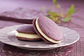 Two Lavender Whoopie Pies on a Purple Plate