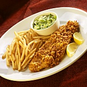 Cornflake Coated Fish Fillet with Fries and Cole Slaw; Lemon Wedges