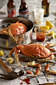 Steamed Crabs Eaten on Newspaper with Condiments