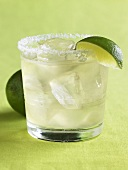 Margarita in a Glass with Salted Rim and Lime Wedge