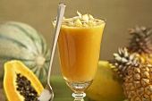Papaya Smoothie in a Glass; Fresh Tropical Fruit