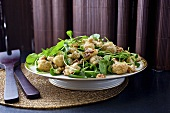 Gebratener Blumenkohlsalat mit Spinat