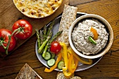 Fresh Veggies and Crackers with a Bowl of Dip; From Above