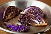 Seared Purple Cabbage Wedges in a Skillet