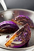 Purple Cabbage Wedges Seared in a Skillet