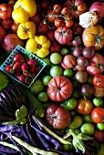 Frisches Gartengemüse und Erdbeeren (Draufsicht)