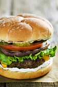 Hamburger with Onion, Tomato, Pickles and Lettuce