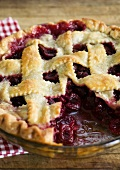 Cherry Pie with Lattice Top; Slice Removed