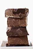 Dark and Milk Valrhona Chocolate Chunks; Stacked