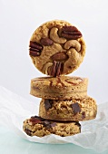 Assortment of Blondies; Nut, Strawberry Swirl, Chocolate and Coconut; Stacked