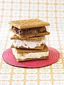 Ice Cream and Graham Cracker Sandwiches; Stacked