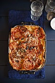 Vegetable Lasagna in Baking Dish; From Above