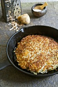 Potato and Leek Cake in a Cast Iron Skillet