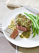Steak deBurgo; Steak Topped with Butter, Herbs and Garlic; Served with Green Beans