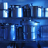 Commercial Pots and Pans on Chef's Kitchen Shelving
